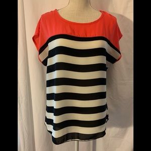 Absolute Angel Short Sleeve Top Coral and Black